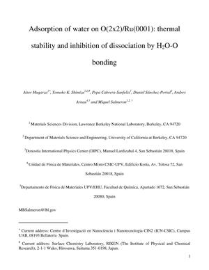 Primary view of object titled 'Adsorption of water on O(2x2)/Ru(0001): thermal stability and inhibition of dissociation by H2O-O bonding'.