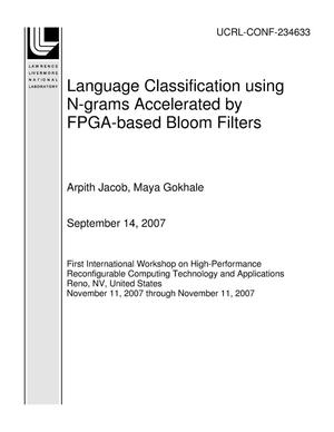 Primary view of object titled 'Language Classification using N-grams Accelerated by FPGA-based Bloom Filters'.