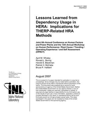 Primary view of object titled 'Lessons Learned from Dependency Usage in HERA: Implications for THERP-Related HRA Methods'.