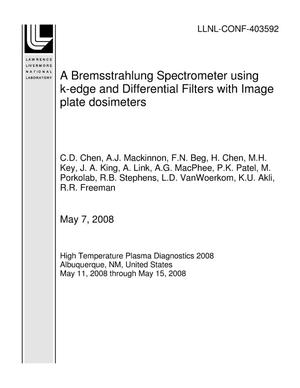Primary view of object titled 'A Bremsstrahlung Spectrometer using k-edge and Differential Filters with Image plate dosimeters'.