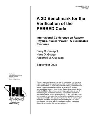 Primary view of object titled 'A 2D Benchmark for the Verification of the PEBBED Code'.