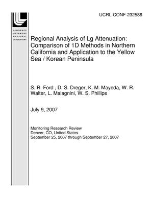 Primary view of object titled 'Regional Analysis of Lg Attenuation: Comparison of 1D Methods in Northern California and Application to the Yellow Sea / Korean Peninsula'.