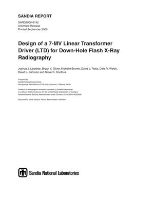 Primary view of object titled 'Design of a 7-MV Linear Transformer Driver (LTD) for down-hole flash x-ray radiography.'.