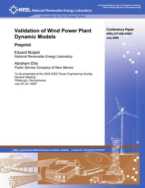 Primary view of object titled 'Validation of Wind Power Plant Dynamic Models: Preprint'.