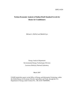 Primary view of object titled 'Techno-Economic Analysis of Indian Draft Standard Levels for RoomAir Conditioners'.