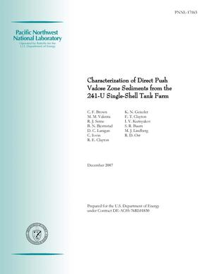 Primary view of object titled 'Characterization of Direct Push Vadose Zone Sediments from the 241-U Single-Shell Tank Farm'.