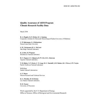 Primary view of object titled 'Quality Assurance of ARM Program Climate Research Facility Data'.