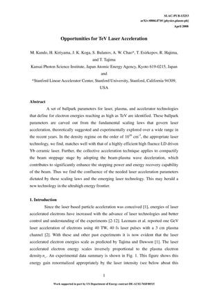Primary view of object titled 'Opportunities for TeV Laser Acceleration'.