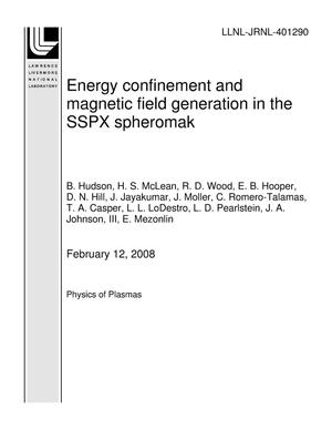 Primary view of object titled 'Energy confinement and magnetic field generation in the SSPX spheromak'.