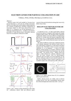 Primary view of object titled 'Electron lenses for particle collimation in LHC'.