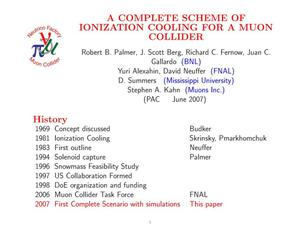 Primary view of object titled 'A Complete Scheme of Ionization Cooling for a Muon Collider'.