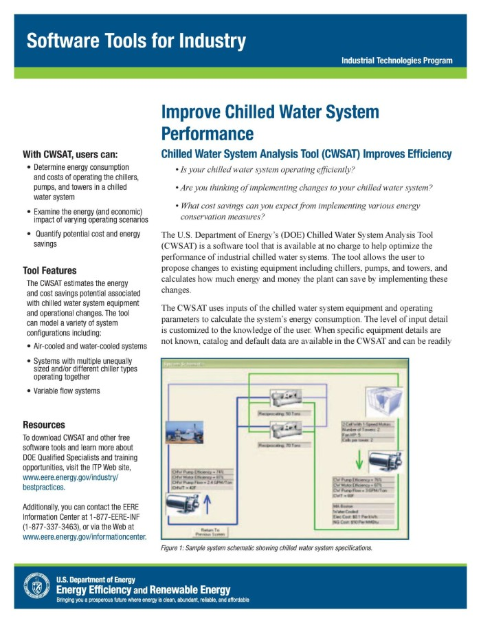 Improve Chilled Water System Performance, Software Tools For