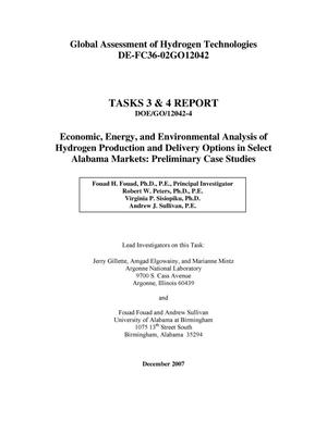 Primary view of object titled 'Global Assessment of Hydrogen Technologies – Tasks 3 & 4 Report Economic, Energy, and Environmental Analysis of Hydrogen Production and Delivery Options in Select Alabama Markets: Preliminary Case Studies'.
