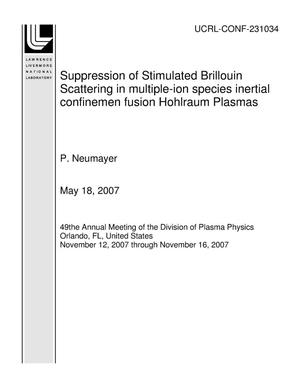 Primary view of object titled 'Suppression of Stimulated Brillouin Scattering in multiple-ion species inertial confinemen fusion Hohlraum Plasmas'.