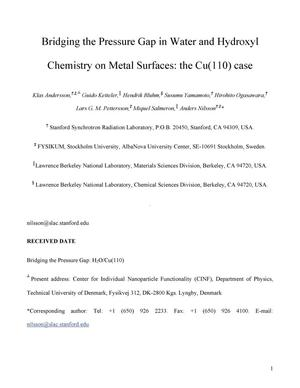 Primary view of object titled 'Bridging the Pressure Gap in Water and Hydroxyl Chemistry on MetalSurfaces: the Cu(110) case'.