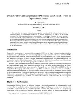 Primary view of object titled 'Distinction between difference and differential equations of motion for synchrotron motion'.