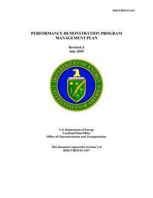 Primary view of object titled 'Performance Demonstration Program Management Plan'.