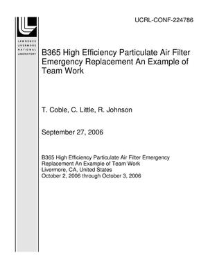Primary view of object titled 'B365 High Efficiency Particulate Air Filter Emergency Replacement An Example of Team Work'.