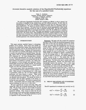 Primary view of object titled 'Accurate iterative analytic solution of theKapchinskij-Vladimirskij equations for the case of a matched beam'.