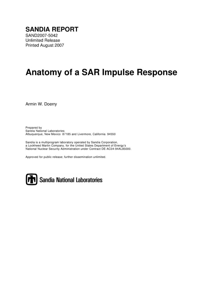 Anatomy of a SAR impulse response. - Digital Library