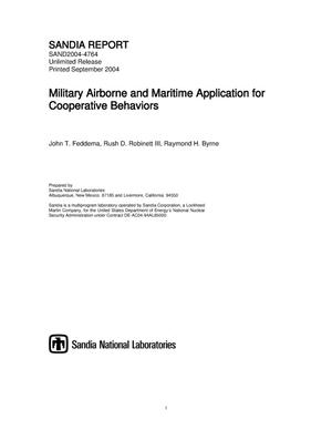 Primary view of object titled 'Military airborne and maritime application for cooperative behaviors.'.