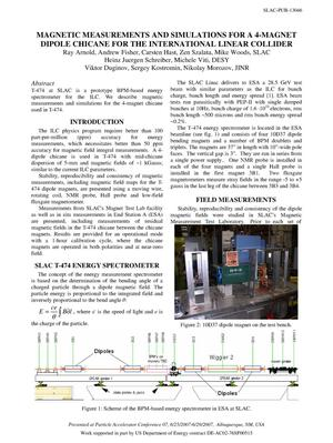 Primary view of object titled 'Magnetic Measurements and Simulations for a 4-magnet Dipole Chicane for the International Linear Collider'.
