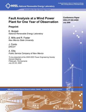 Primary view of object titled 'Fault Analysis at a Wind Power Plant for One Year of Observation: Preprint'.