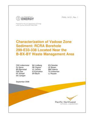 Primary view of object titled 'Characterization of Vadose Zone Sediment: RCRA Borehole 299-E33-338 Located Near the B-BX-BY Waste Management Area'.
