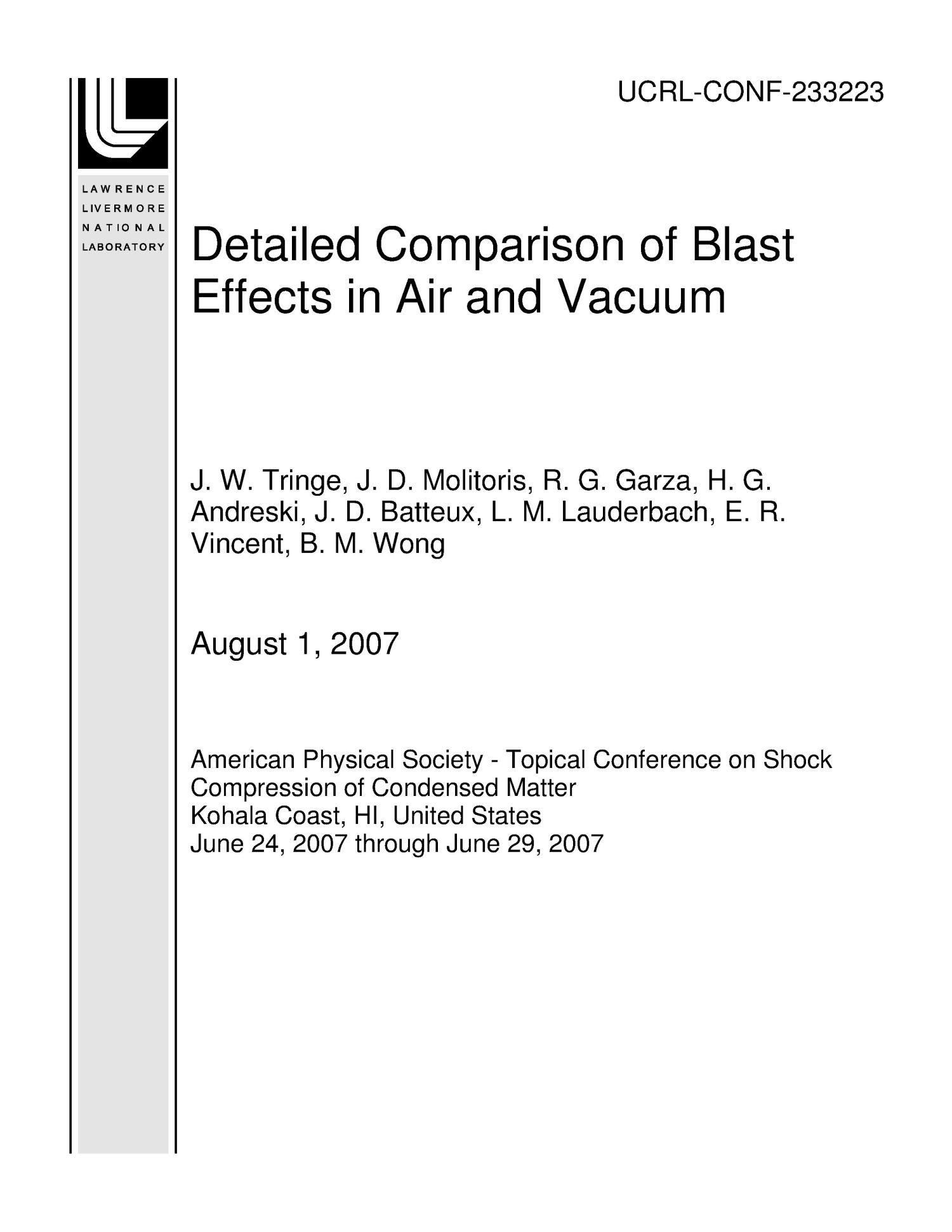 Detailed Comparison of Blast Effects in Air and Vacuum                                                                                                      [Sequence #]: 1 of 10