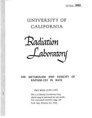 Primary view of object titled 'THE METABOLSIM AND TOXICITY OF RADIUM-223 IN RATS'.
