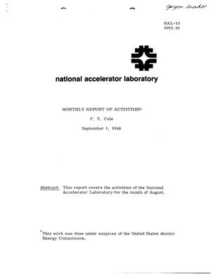 Primary view of object titled 'Monthly report of activities: September 1, 1968'.