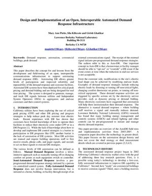 Primary view of object titled 'Design and Implementation of an Open, Interoperable AutomatedDemand Response Infrastructure'.
