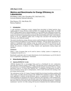 Primary view of object titled 'Metrics and Benchmarks for Energy Efficiency in Laboratories'.