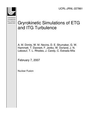 Primary view of object titled 'Gryrokinetic Simulations of ETG and ITG Turbulence'.