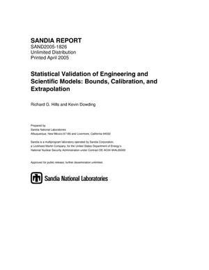 Primary view of object titled 'Statistical validation of engineering and scientific models : bounds, calibration, and extrapolation.'.