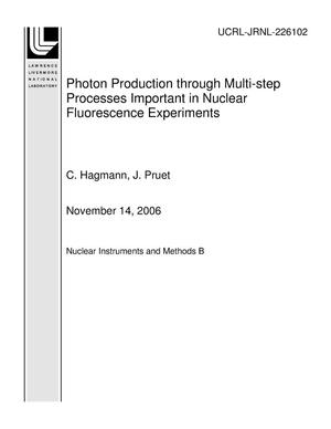 Primary view of object titled 'Photon Production through Multi-step Processes Important in Nuclear Fluorescence Experiments'.