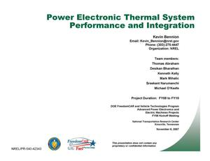 Primary view of object titled 'Power Electronic Thermal System Performance and Integration (Presentation)'.