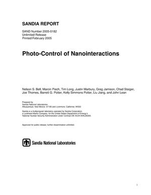 Primary view of object titled 'Photo-control of nanointeractions.'.