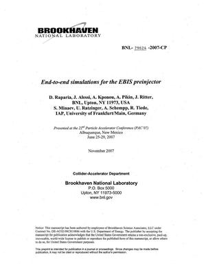 Primary view of object titled 'END-TO-END SIMULATIONS FOR THE EBIS PREINJECTOR.'.