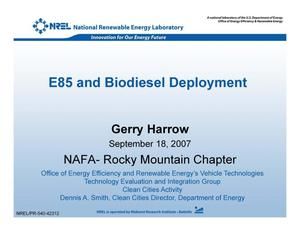 Primary view of object titled 'E85 and Biodiesel Deployment (Presentation)'.