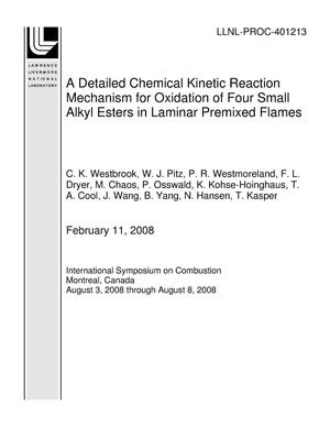 Primary view of object titled 'A Detailed Chemical Kinetic Reaction Mechanism for Oxidation of Four Small Alkyl Esters in Laminar Premixed Flames'.