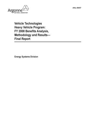 Primary view of object titled 'Vehicle technologies heavy vehicle program : FY 2008 benefits analysis, methodology and results --- final report.'.