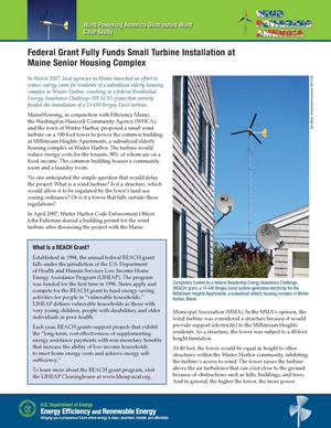 Primary view of object titled 'Federal Grant Fully Funds Small Turbine Installation at Maine Senior Housing Complex'.