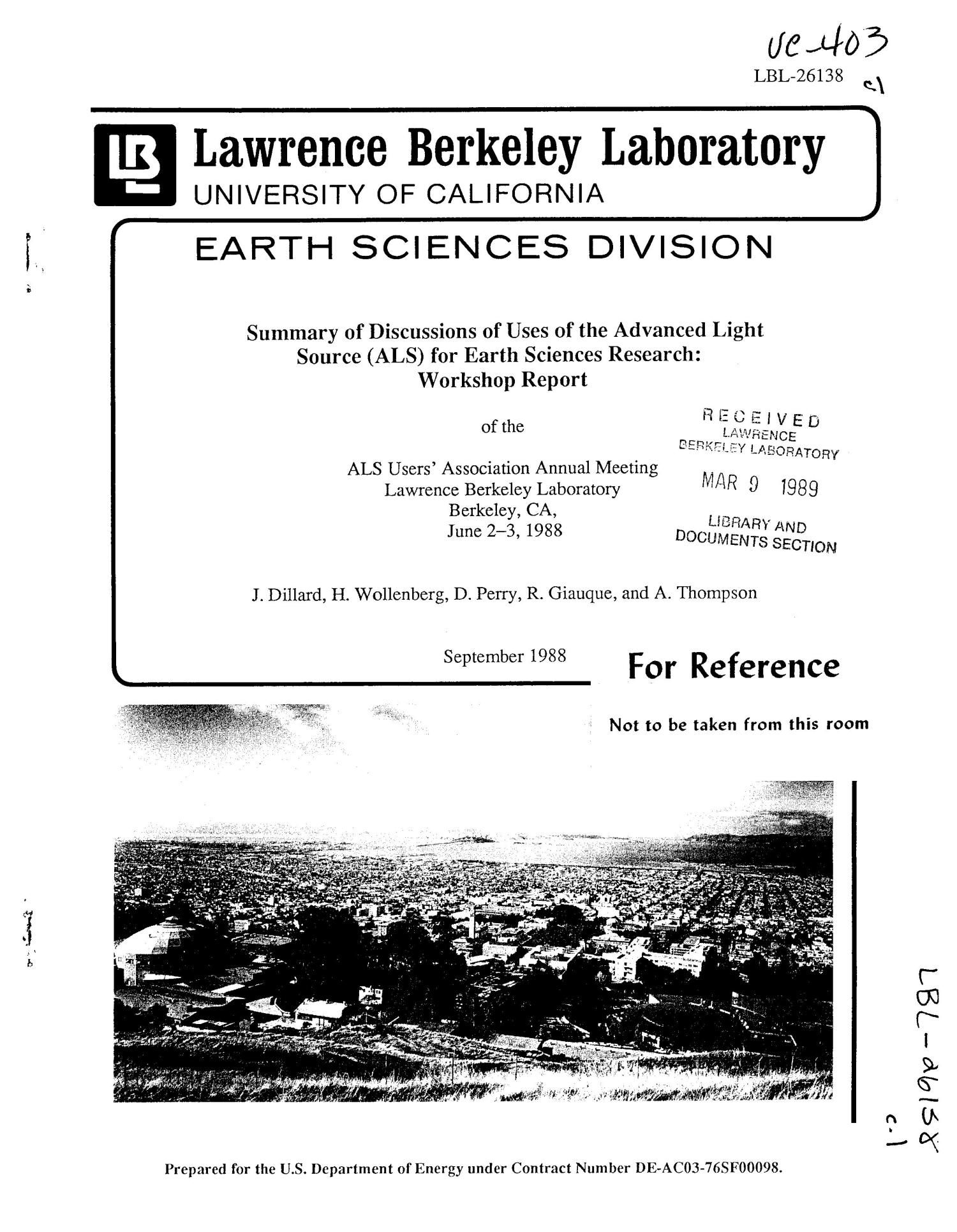 SUMMAR OF DISCUSSIONS OF USES OF THE ADVANCED LIGHT SOURCE (ALS)FOR EARTH SCIENCES RESEARCH: WORKSHOP REPORT OF THE ALS USERS'ASSOCIATION ANNUAL MEETING, LAWRENCE BERKELEY LABORATORY, BERKELEY,CA,JUNE 2-3, 1988                                                                                                      [Sequence #]: 1 of 12