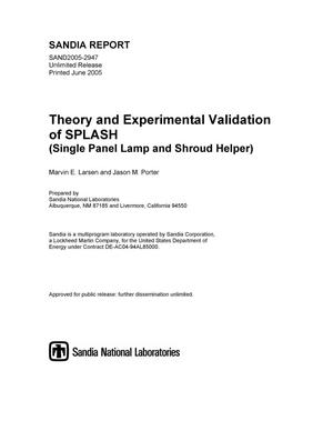 Primary view of object titled 'Theory and experimental validation of SPLASH (Single Panel Lamp and Shroud Helper).'.