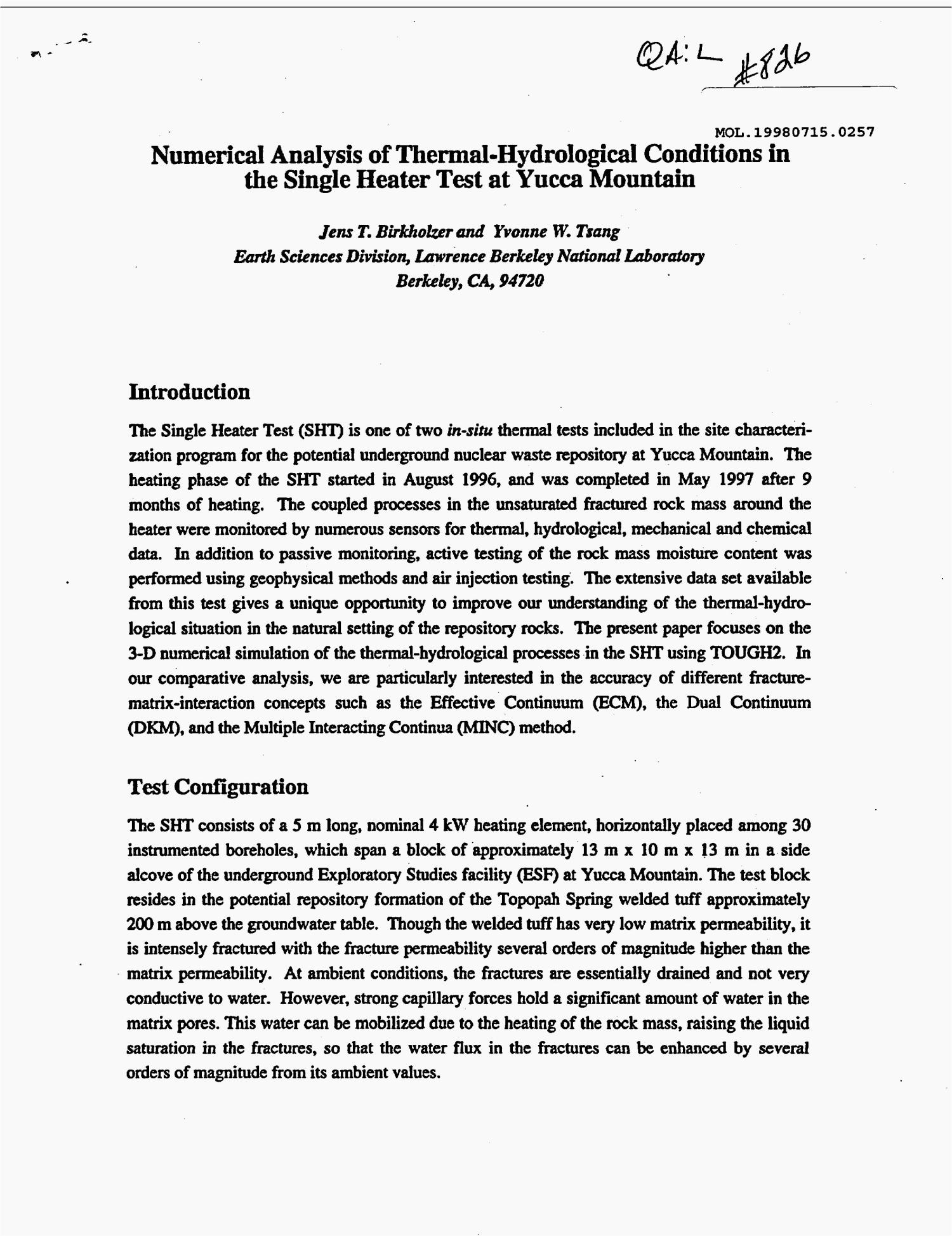 Numerical analysis of thermal-hydrological conditions in thesingle heater test at Yucca Mountain                                                                                                      [Sequence #]: 1 of 6