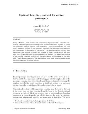 Primary view of object titled 'Optimal boarding method for airline passengers'.