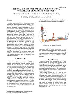 Primary view of object titled 'Microwave Ion Source and Beam Injection for an Accelerator-drivenNeutron Source'.