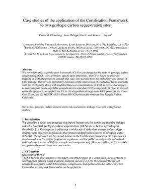 Primary view of object titled 'Case studies of the application of the Certification Framework to two geologic carbon sequestration sites'.