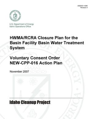 Primary view of object titled 'HWMA/RCRA Closure Plan for the Basin Facility Basin Water Treatment System - Voluntary Consent Order NEW-CPP-016 Action Plan'.